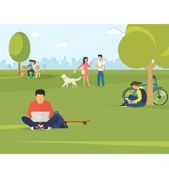People with gadgets using outdoors vector