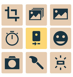Photo icons set with photographing tag face wb vector