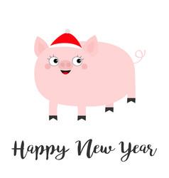 Pig piglet in santa red hat happy new year cute vector