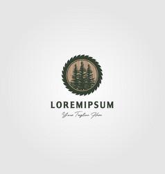 pine tree grinding logo vintage design vector image