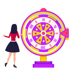 Playing fortune wheel spinning roulette vector