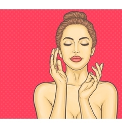 Pop art beautiful young woman makes a face massage vector image