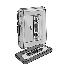 portable audio player and cassette tape vector image