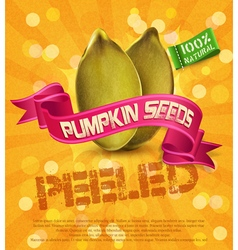 Pumpkin seeds on an orange background with ribbon vector
