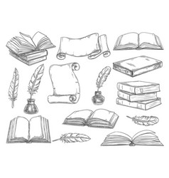 Retro books and literature quills sketch vector
