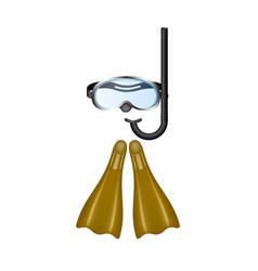 Retro diving goggles with brown flippers vector