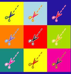 scissors sign pop-art style vector image