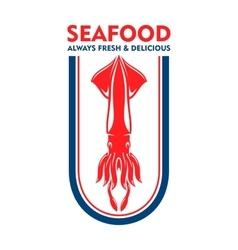 Seafood restaurant retro icon with european squid vector image