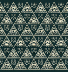 Seamless pattern with all-seeing eye and old keys vector