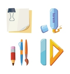 set cartoon stationery vector image
