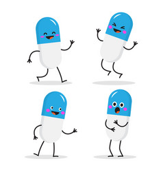 set funny characters capsules vector image