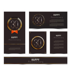 Set of 30th happy anniversary cards template vector