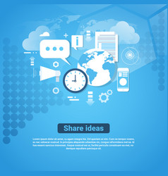 Share ideas template web banner with copy space vector