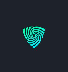 Shield spin logo design abstract modern minimal vector