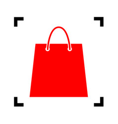 shopping bag red icon inside vector image vector image