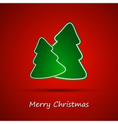 Simple christmas tree on red background vector image