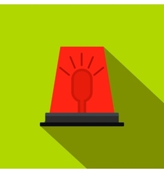 Siren red flashing emergency light flat icon vector