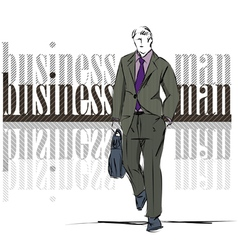 Sketch fashion handsome business man vector image