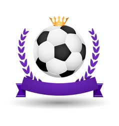 Soccer championship emblem design template Golden vector