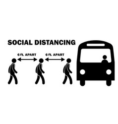 Social distancing 6ft feet apart when boarding vector