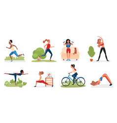 sport woman activity set young character doing vector image