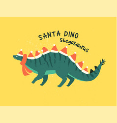 stegosaurus dressed as santa claus vector image
