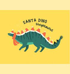 stegosaurus dressed as santa claus vector image