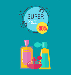 super price -50 cosmetics vector image