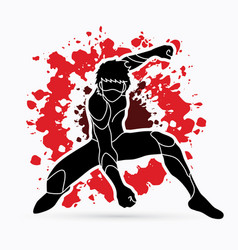 Superhero landing action cartoon superhero man vector