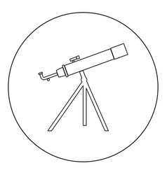 telescope icon black color in circle or round vector image