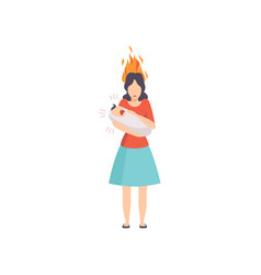 Tired mother with burning brain holding her vector
