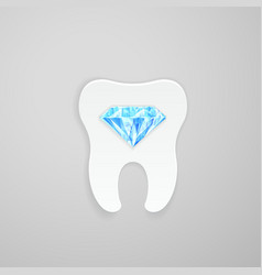 Tooth with blue diamond vector image