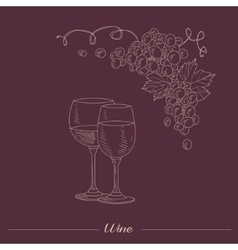 Two lasses with different wine hand drawn vector
