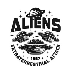ufo or spaceships emblem with sample text vector image
