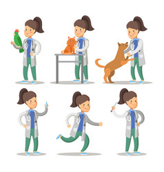 vet woman cartoon character set pets health care vector image
