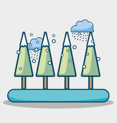Winter pine trees with cloud snowing vector