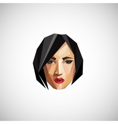 with a female face in origami style vector image