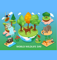 World wildlife day isometric background vector