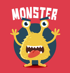 yellow monster screaming vector image