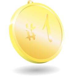 3d gold medal on white background vector