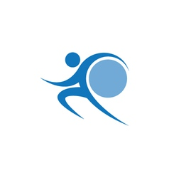 Blue sportman and world vector image vector image