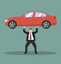 Businessman carry a heavy car vector image vector image