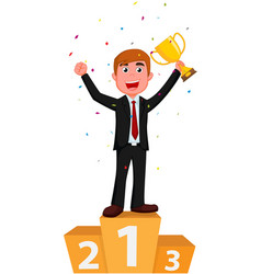 cartoon businessman holding a golden cup with conf vector image