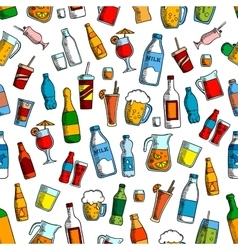 Drinks and bottles seamless background vector