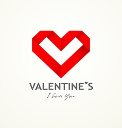 Happy valentine day origami paper heart vector image vector image