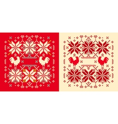 Rooster winter pattern vector