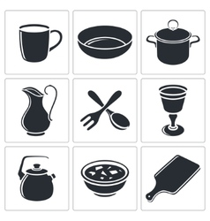 Tableware icon collection vector image vector image