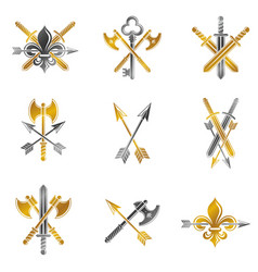 vintage weapon emblems set heraldic coat of arms vector image vector image