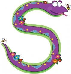 animal alphabet snake vector image vector image