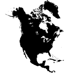 Black North America map vector image